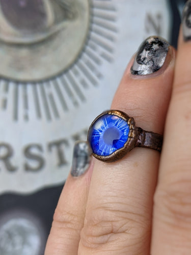 Copper Electroformed Eyeball Ring - Size 4 Blue