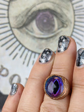 Load image into Gallery viewer, Copper Electroformed Eyeball Ring - Size 8.5 Purple / Blue