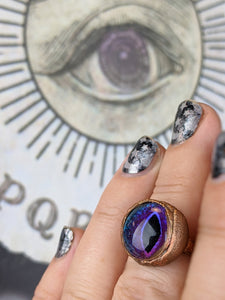 Copper Electroformed Eyeball Ring - Size 8.5 Purple / Blue