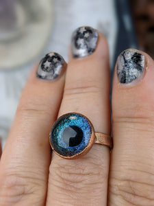 Copper Electroformed Eyeball Ring - Size 8.5 Blue