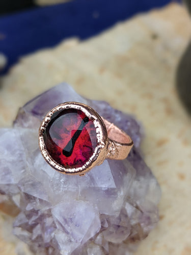 Copper Electroformed Eyeball Ring - Size 6 Red