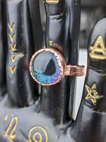 Copper Electroformed Eyeball Ring - Size 6.5 Turquoise