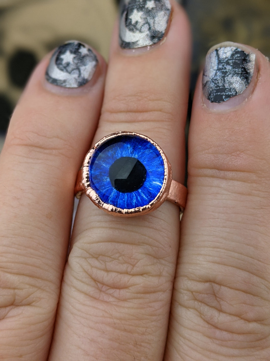 Copper Electroformed Eyeball Ring - Size 7 Bright Blue