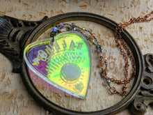 Load image into Gallery viewer, Iridescent Ouija Planchette Necklace- Iridescent Beads