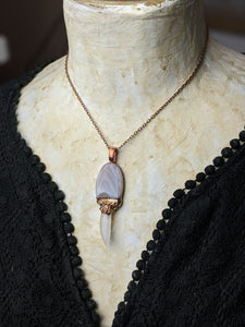 Lace Agate Mushroom Electroformed Necklace