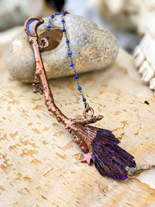 Copper Electroformed Witch Broom Besom Necklace #2