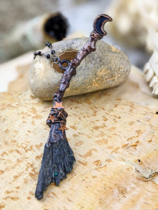 Copper Electroformed Witch Broom Besom Necklace #5