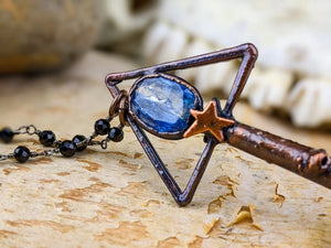 Copper Electroformed Witch Broom Besom Necklace #15