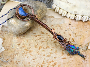 Copper Electroformed Witch Broom Besom Necklace #18