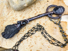 Load image into Gallery viewer, Copper Electroformed Witch Broom Besom Necklace #33