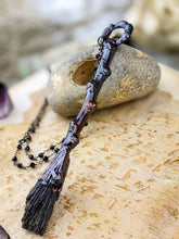 Load image into Gallery viewer, Copper Electroformed Witch Broom Besom Necklace #35