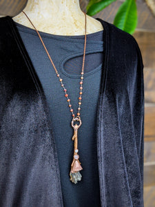 Copper Electroformed Witch Broom Besom Necklace #13