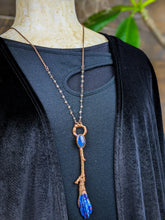 Load image into Gallery viewer, Copper Electroformed Witch Broom Besom Necklace #21