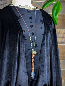 Copper Electroformed Witch Broom Besom Necklace #39