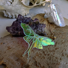 Load image into Gallery viewer, Iridescent Luna Moth Necklace with Iridescent Faceted Beads