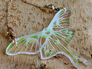 Iridescent Luna Moth Necklace with Iridescent Faceted Beads