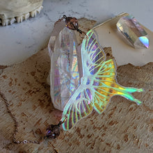 Load image into Gallery viewer, Iridescent Luna Moth Necklace with Iridescent Czech Glass Saturn Beads