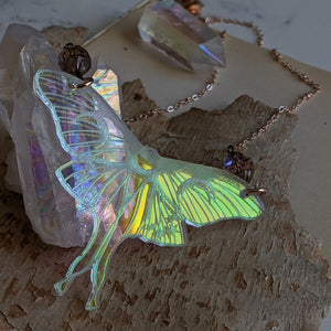 Iridescent Luna Moth Necklace with Iridescent Czech Glass Saturn Beads