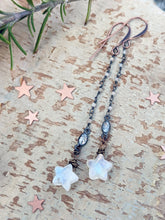 Load image into Gallery viewer, Moonstone Star Dangle Earrings - Style 3