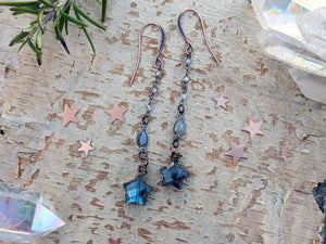 Labradorite Star Dangle Earrings - Style 2