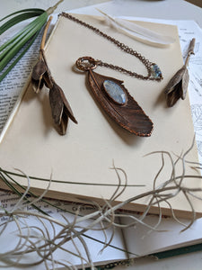 Copper Electroformed Feather Necklace #1