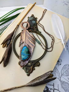 Copper Electroformed Feather Necklace #3