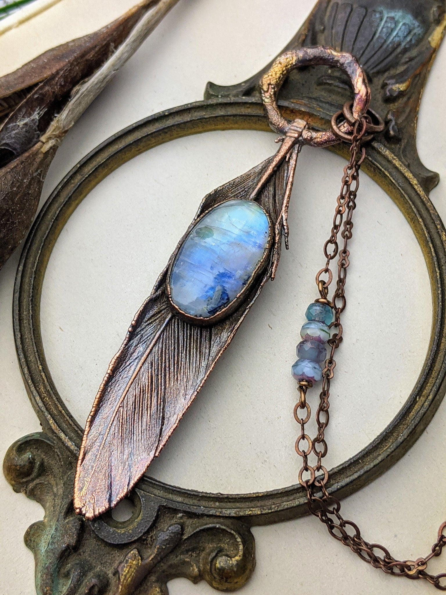 Feather Necklace Copper Electroformed Chicken Feather Pendant