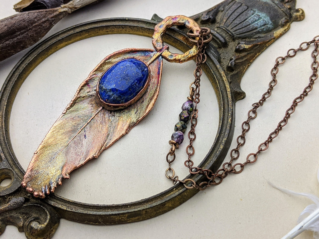 Copper Electroformed Feather Necklace #8