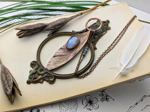 Copper Electroformed Feather Necklace #10