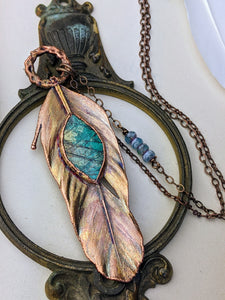 Copper Electroformed Feather Necklace #11