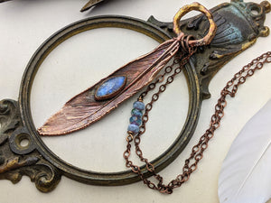 Copper Electroformed Feather Necklace #12