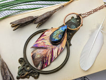 Load image into Gallery viewer, Copper Electroformed Feather Necklace #17