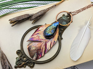 Copper Electroformed Feather Necklace #17