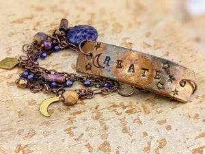 Wrist Reminder Copper Electroformed Bracelet - CREATE