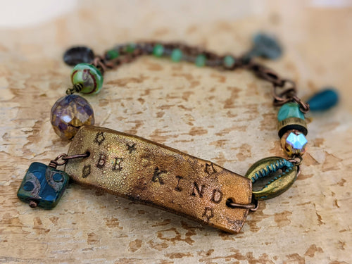 Wrist Reminder Copper Electroformed Bracelet - BE KIND