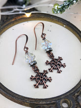 Load image into Gallery viewer, Snowflakes and Ice Vintage Crystal Earrings