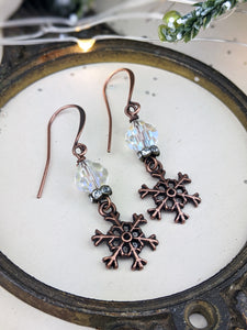 Snowflakes and Ice Vintage Crystal Earrings