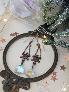 Snowflakes and Iridescent Crystal Drop Earrings