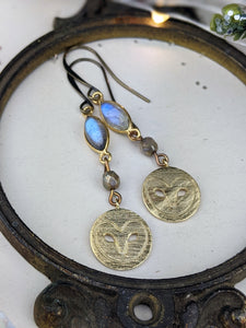 Labradorite and Brass Owls Earrings