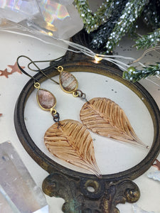 Pressed Glass Leaves with Golden Rutilated Quartz Earrings