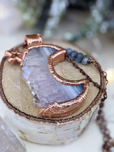 Load image into Gallery viewer, Copper Electroformed Druzy Agate and Amethyst Moon - Vertical Long Necklace 2