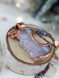 Copper Electroformed Druzy Agate and Amethyst Moon - Vertical Long Necklace 2
