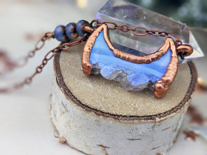 Copper Electroformed  Druzy Agate and Amethyst Moon - Horizontal Short Necklace 5