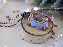 Load image into Gallery viewer, Copper Electroformed  Druzy Agate and Amethyst Moon - Horizontal Short Necklace 5