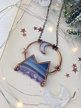 Load image into Gallery viewer, Copper Electroformed  Agate and Amethyst Druzy Mountain with Moonstone Moon 2
