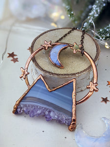 Copper Electroformed  Agate and Amethyst Druzy Mountain with Moonstone Moon 2