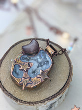 Load image into Gallery viewer, Copper Electroformed Aura-Druzy Galaxy Necklace with Peach Moonstone Moon
