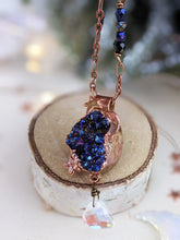 Load image into Gallery viewer, Copper Electroformed Titanium-coated Druzy Quartz Necklace with Briolette Drop 1