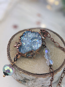 Copper Electroformed Aura-coated Druzy Quartz Necklace with Iridescent Drop 2