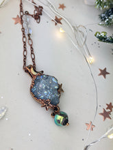 Load image into Gallery viewer, Copper Electroformed Aura-coated Druzy Quartz Necklace with Iridescent Drop 2